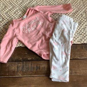 organic Rabbit & Bear brand baby girl outfit 6-9 m